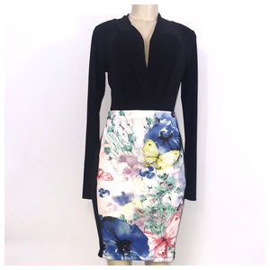 Black Multi Color Midi Skirt Small